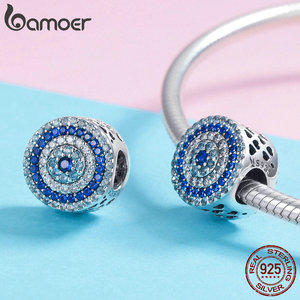 Image 4 - BAMOER Fashion New 925 Sterling Silver Blue Eye Lucky Blue Cubic Zircon Beads Charms fit Necklace Bracelets DIY Jewelry SCC915