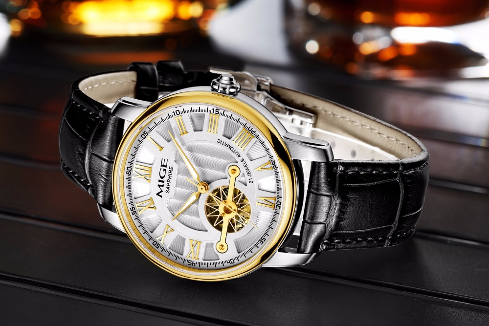 2018 Mige New Hot Luxury Skeleton Gold Case White Black Leather Strap Japan Automatic Movement Waterproof Mechanical Man Watch2018 Mige New Hot Luxury Skeleton Gold Case White Black Leather Strap Japan Automatic Movement Waterproof Mechanical Man Watch