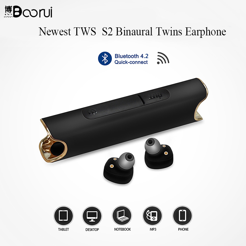 Gêmeos BOORUI Recentes TWS S2 Binaural Mini Portátil Bluetooth Estéreo sem fio fones de ouvido fones de ouvido Microfone embutido com 850 mah Da Bateria
