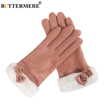 BUTTERMERE Womens Winter Gloves Khaki Suede Leather Gloves Elegant Ladies Bowknot Fleece Warmer Driving Female Short Mittens