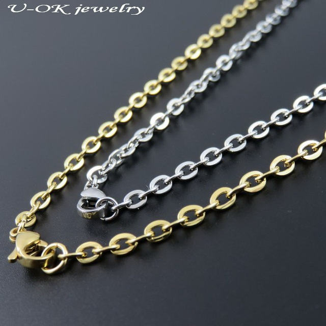 Gold color Stainless Steel Classic Chain Necklace For Man 1bafeb227c