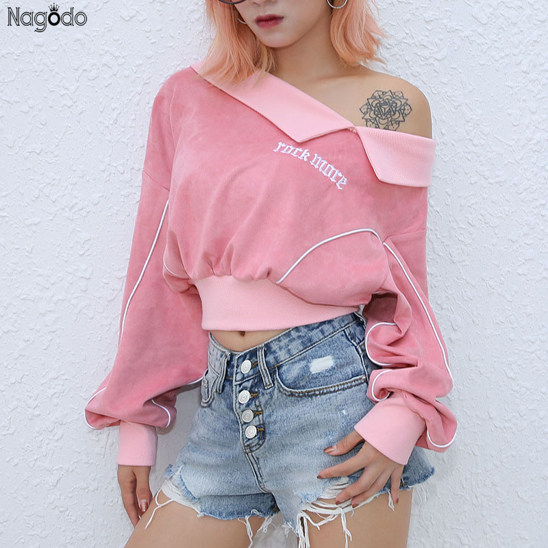 Nagodo Rose Sweat Femmes Kawaii col peter pan Pulls décontracté Courtes Hoodies Manches Bouffantes Lettre Suéter Feminino Jumper