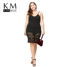 Kissmilk Plus Size New Fashion Women Solid Black Lace Contrast Dress Big large Sleeve Sexy V-neck Camis 3XL-6XL