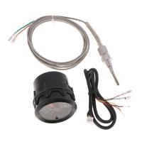 2'52mm 7 Color LED Car Exhaust Gas Temp Gauge EXT Temp Meter EGT With Sensor Blue Digital Voltage Display