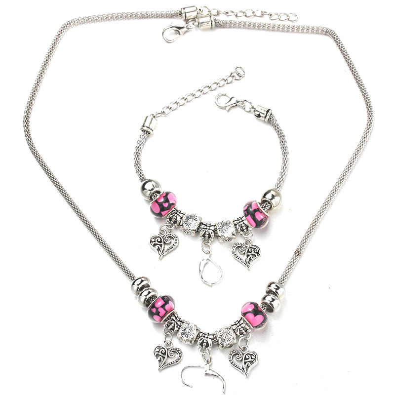 Heart Shaped Necklace Bracelet Set Fine Silver Bead Hollow Chain Beaded Bracelet With Hooks DIY Making Pendant Jewelry