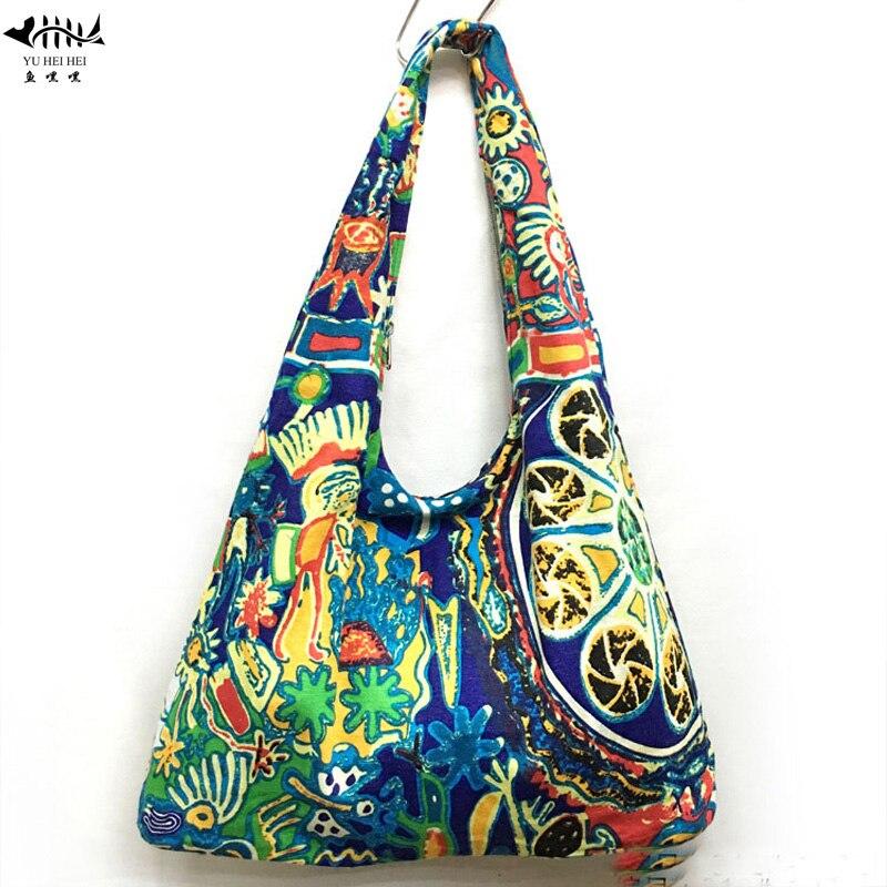 Bohemian Hippie Gypsy Bag Handbag Shoulder Tote Bag Cotton Canvas National Bags Free Shipping