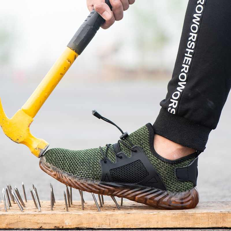 Мужские рабочие защитные ботинки 2019 открытый стальной носок Кепка Военная защитная обувь мужские ПРОКАЛЫВАЮЩИЕ ботинки мужские защитные кроссовки