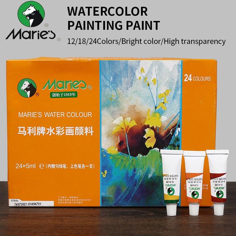 Marie 12/18/24 colores de pintura de la acuarela pintura de alta calidad transparente 5 ml acuarela pigmento para artista estudiante de la escuela