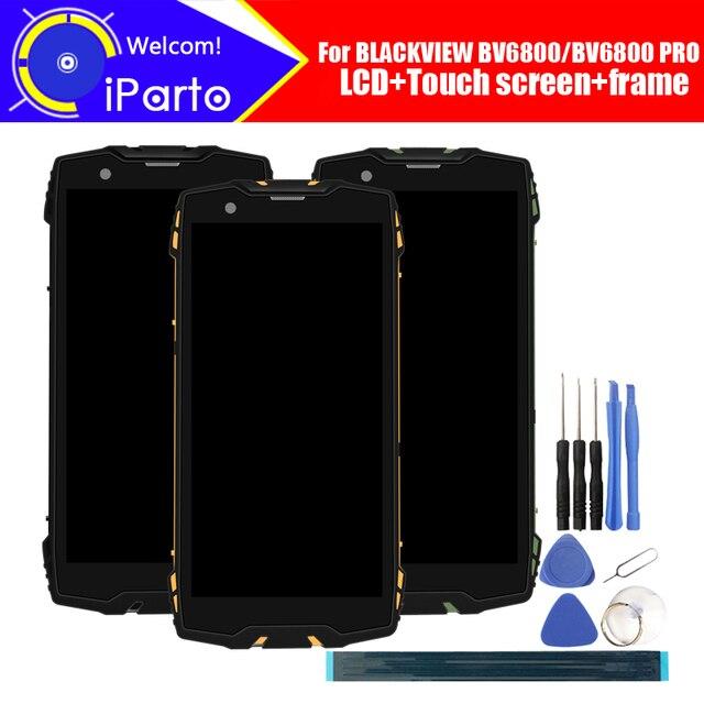 5.7 Blackview BV6800 شاشة الكريستال السائل + محول الأرقام بشاشة تعمل بلمس + الإطار الجمعية 100% الأصلي LCD + اللمس محول الأرقام ل BV6800 برو