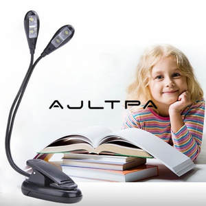 LED Clip Book-Light Stand Reading-Lamp Usb-Power Portable 4leds-Batteries Double-Head