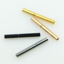 Fermoirs en acier inoxydable en métal plaqué Rhodium de 1mm pour cordon en cuir rond pour les résultats de bijoux à bricoler soi-même faisant des composants de bijoux