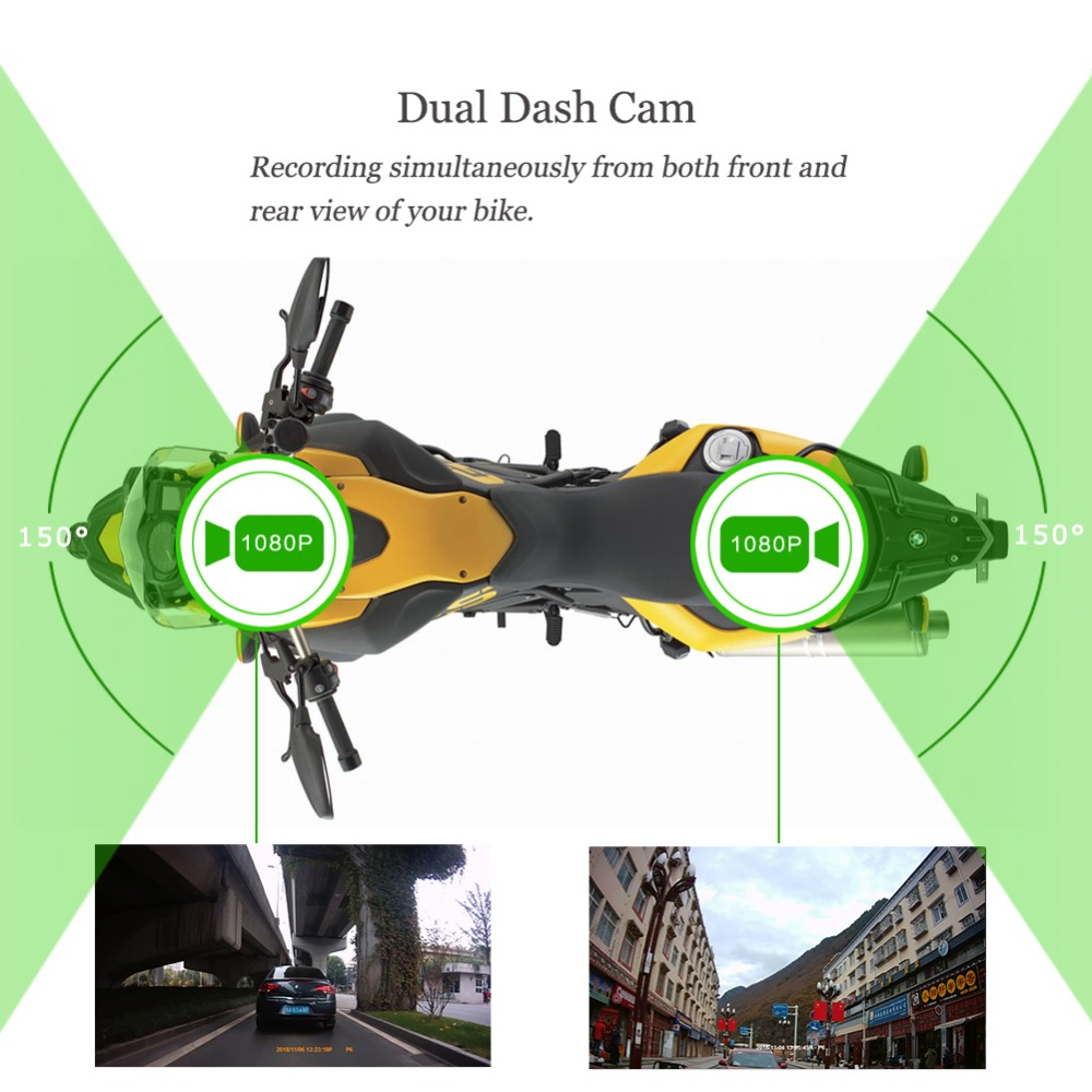 SYS VSYS corps complet étanche moto caméra enregistreur P6FL WiFi double 1080P Full HD moto DVR tableau de bord caméra noir GPS boîte - 3