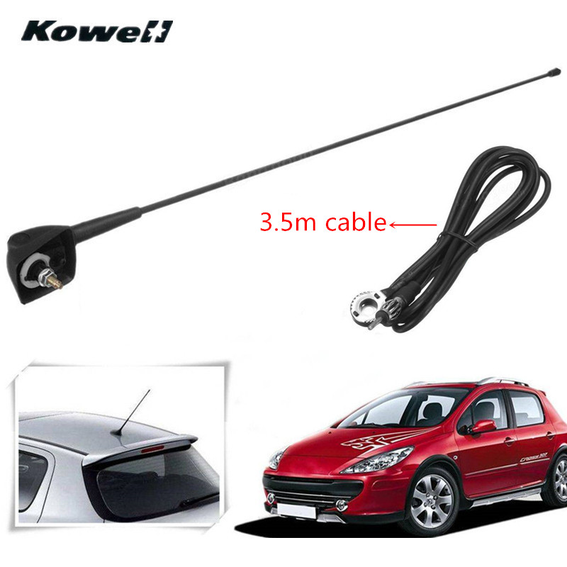 Car Auto Roof Radio Antenna FM/AM Signal Booster Amplifier Aerials Whip Mast for Peugeot 106 205 206 306 307 309 405 406 806 807 kowell fibreglass universal car auto roof fender radio antenna fm am signal booster amplifier aerials whip mast for vw for kia