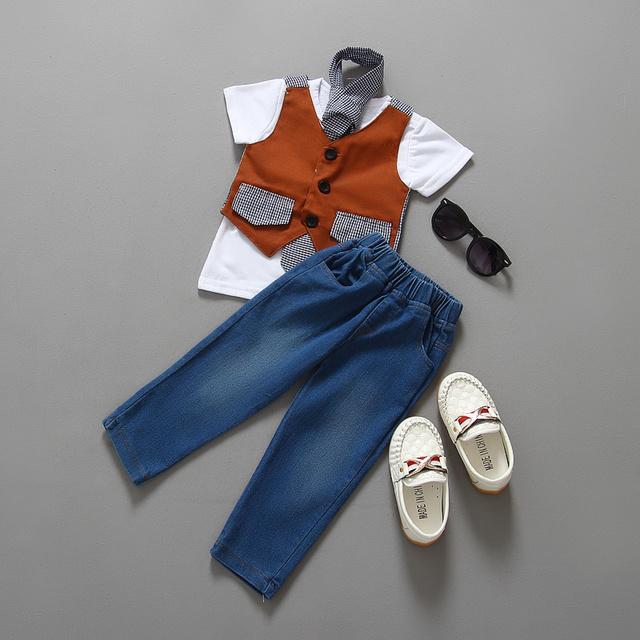 Novo 2015 Do Bebê verão terno cavalheiro roupas meninos conjunto colete + short T-shirt + pant long/Popular estilo de roupas de bebe