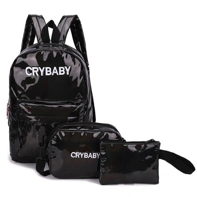 HTB1Im18bBWD3KVjSZKPq6yp7FXa1 Yogodlns 2019 Holographic Laser Backpack Embroidered Crybaby Letter Hologram Backpack set School Bag +shoulder bag +penbag 3pcs