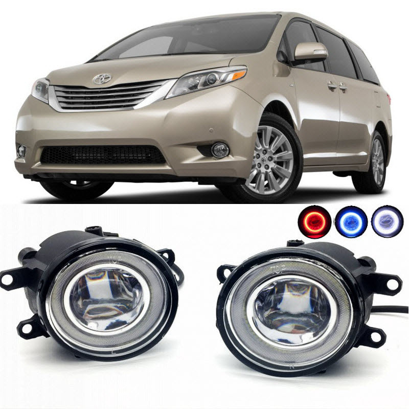 For Toyota Sienna XL30 2010-2015 2 in 1 LED Cut-Line Lens Fog Lights Lamp 3 Colors Angel Eyes DRL Daytime Running Lights for opel astra h gtc 2005 15 h11 wiring harness sockets wire connector switch 2 fog lights drl front bumper 5d lens led lamp