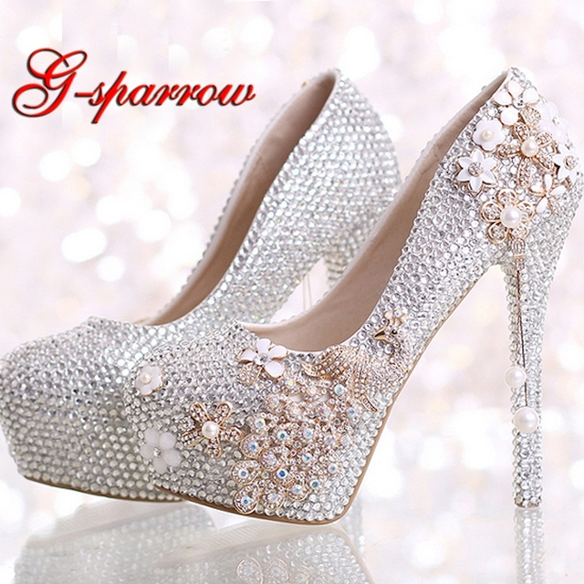 Luxurious Wedding Shoes Silver Rhinestone with Phoenix Platform Women Shoes  Graduation Party High Heel Shoes Ceremony Pumps a8b9a2146c66