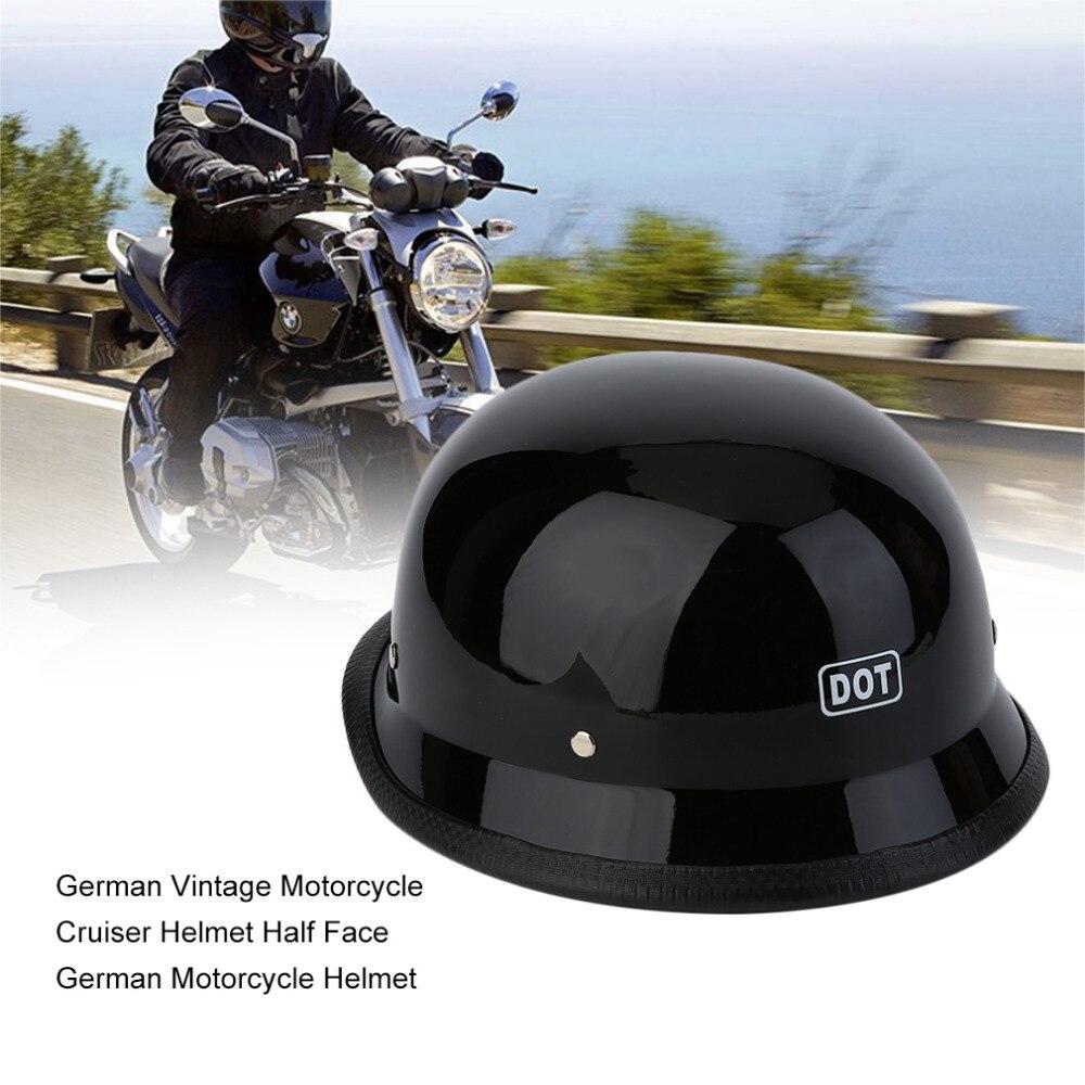 LESHP Allemand Style Vintage Moto Cruiser Casque Durable Demi Visage Allemand Casque de Moto Casque Lumineux Noir M/L/XL Chaude