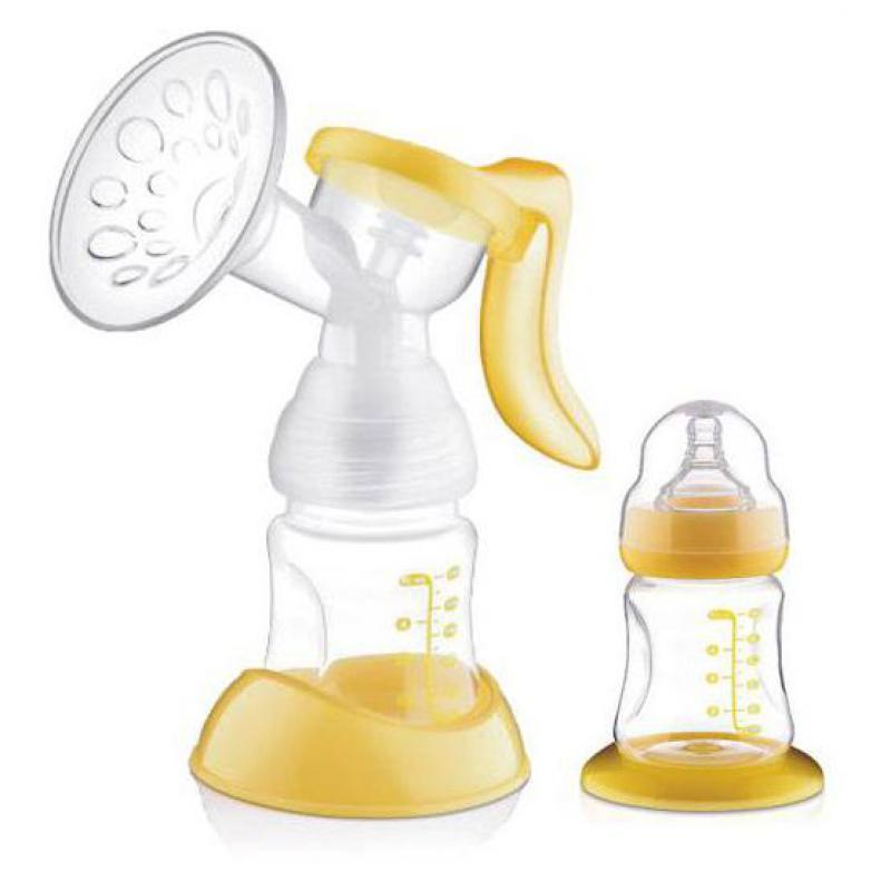 Manual Breast Pump Feeding Pump Baby Milk Silicon PP Material BPA Free With Milk Bottle Yellow White 160ml free shipping breast pump baby milk bottle nipple with sucking function baby product feeding breast pump1pcs xnq09