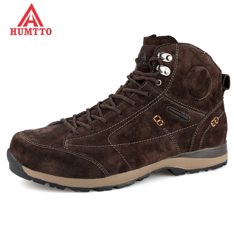 New Winter Plush Hiking Shoes Genuine Leather Outdoor Trekking Boots Lace-up Climbing Mens Hunting Sneakers Men Male Walking humtto new hiking shoes men outdoor mountain climbing trekking shoes fur strong grip rubber sole male sneakers plus size