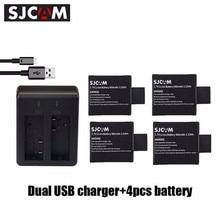 SJCAM Daul Charger and Standard 3.7V 900mAh Li-ion Replacement Battery for SJ4000 SJ5000 SJ6000 M10 Action Camera