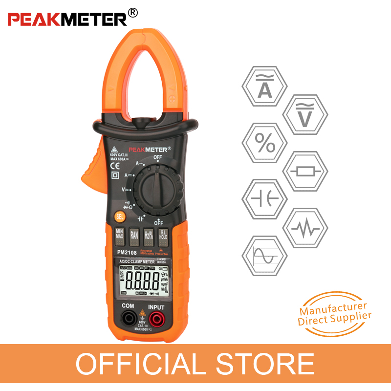 PEAKMETER PM2108 6600 conteggi AC DC Mini pinza digitale Vero RMS IN RUSH Resistenza corrente Capacità Frequenza Clamp Meter