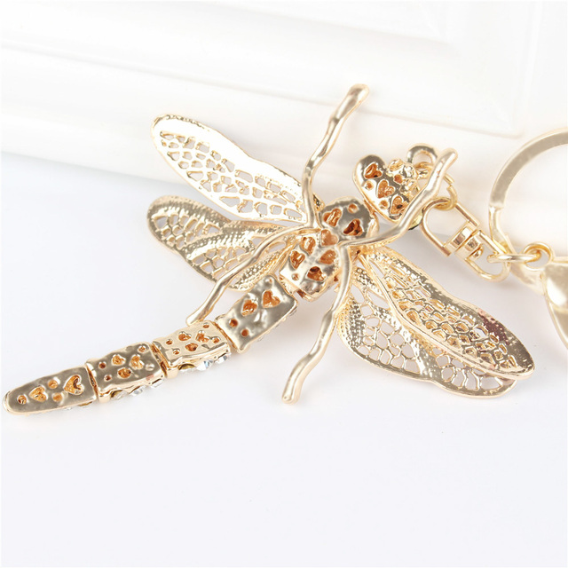New Dragonfly Pendant Charm Rhinestone Crystal Purse Bag Keyring Key Chain Accessories Wedding Party Gift