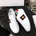 2017 Women Spring Embroidery Little Bee Shoes New Genuine Leather Lace-up Flats Brand Designer White Fashion Comfort Shoes