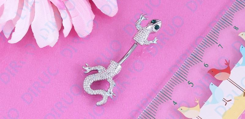 HTB1Im1YIpXXXXaEXpXXq6xXFXXXk Crystal Jeweled Lizard Style Silver-Tone Navel Ring - 6 Styles