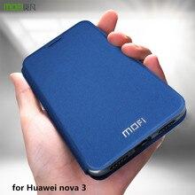 Funda MOFi para Huawei Nova 3, funda de libro para Nova 3, funda abatible de cuero PU para Huawei Nova3, carcasa de negocios a prueba de golpes de lujo