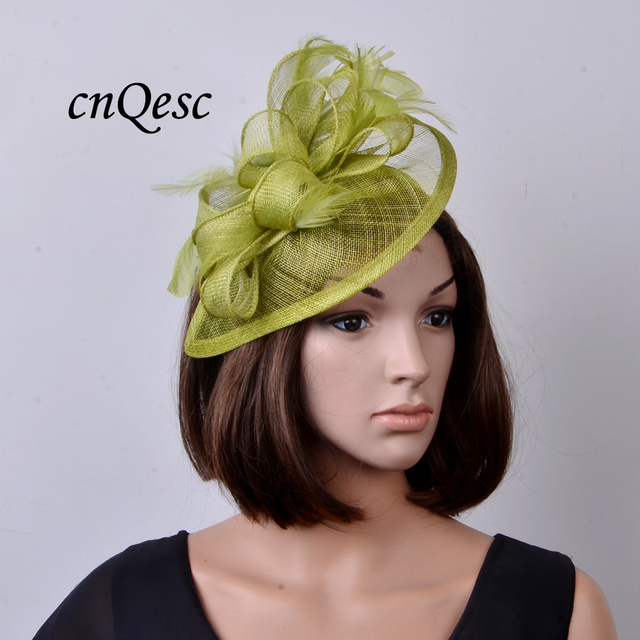 NEW Lime green Feather sinamay fascinator women s hat for Wedding ... d0c44b15a07