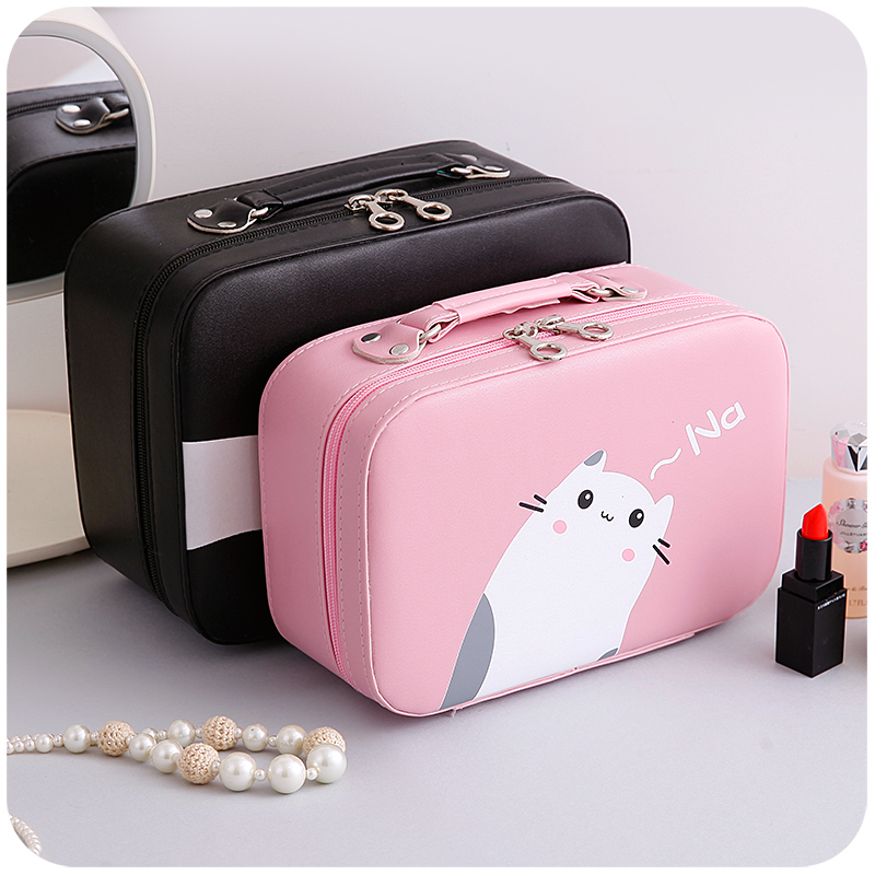 2018 Fashion Women Cosmetic Bag PU Leather Makeup Bag Cartoon Cute Cat Lady Cosmetic Cases Travel Cosmetic bag for cosmetics 斗地主高手必胜攻略