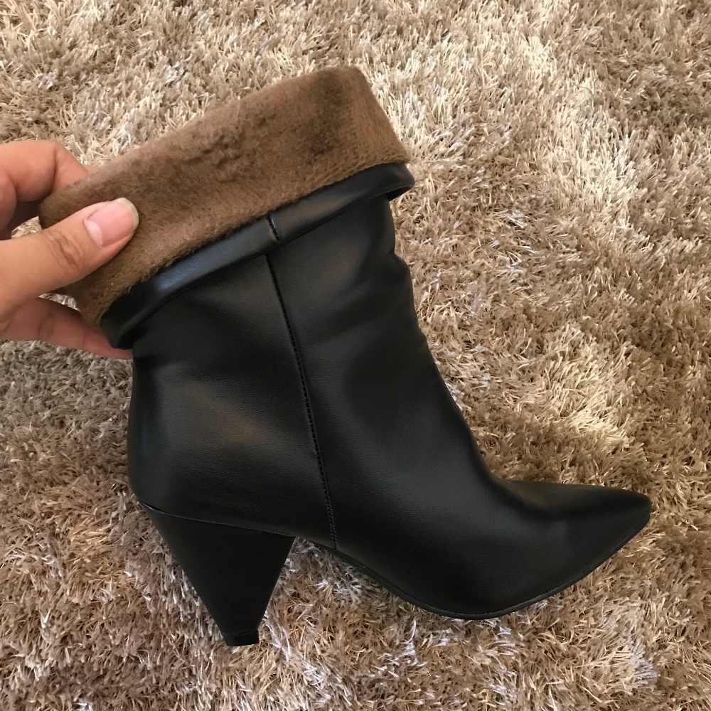 2018 herfst winte vrouwen laarzen bont warme zwart lederen enkellaars voor vrouwen wees teen hoge hakken laarzen sneeuw vrouw schoenen