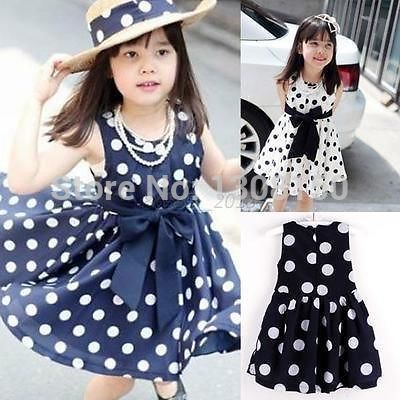 Hot Sell Kids Girls Polka Dot Chiffion Sundress Toddler Tunic Bowknot Belt Dress