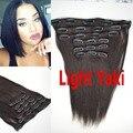 Brasileiro cabelo virgem hetero grosso Yaki 6 pcs por conjunto grampo de cabelo humano em extensões do cabelo italiano Yaki cabelo luz Yaki