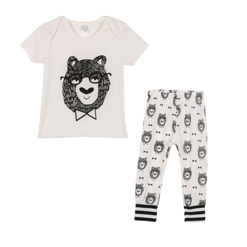 T-Shirt Pants Outfits Short-Sleeve Baby Cotton 2pcs Top Newborn