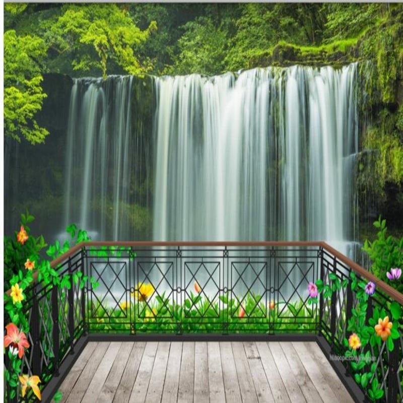 Beibehang Sob Encomenda da foto decoração papéis de parede na varanda cachoeira floresta 3d TV fundo quarto TV sala de estar quarto papel de parede