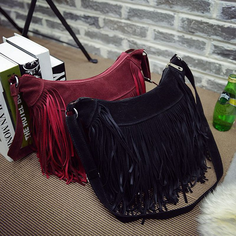 dec1fe5f07 American European Style Women messenger bags Long Tassel Crossbody Bags  Suede Lady Single Shoulder Bags Fashion Bolsa Franja