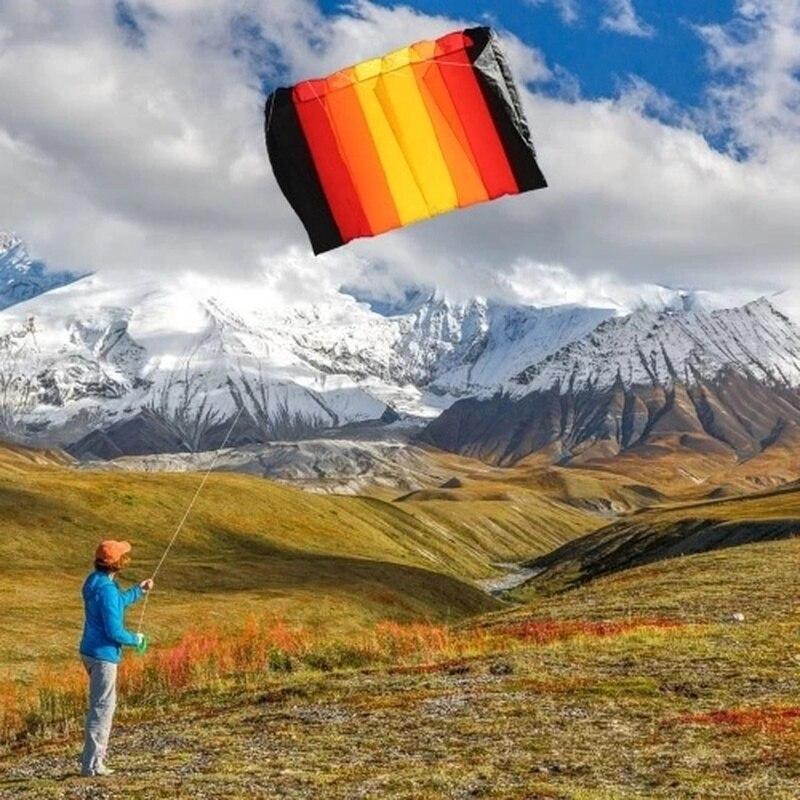 15% 75*135 cm multicolore ligne unique Parafoil Parachute cerf-volant sans cadre doux cerf-volant géant arc-en-ciel cerf-volant Lifter enfants adultes