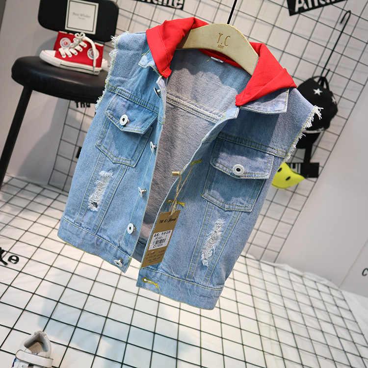 ฤดูใบไม้ผลิเด็กฤดูใบไม้ร่วง DENIM เสื้อโค้ทแฟชั่นเด็กเสื้อแขนกุดเสื้อกั๊กสัตว์สไตล์เด็กชาย Outerwear