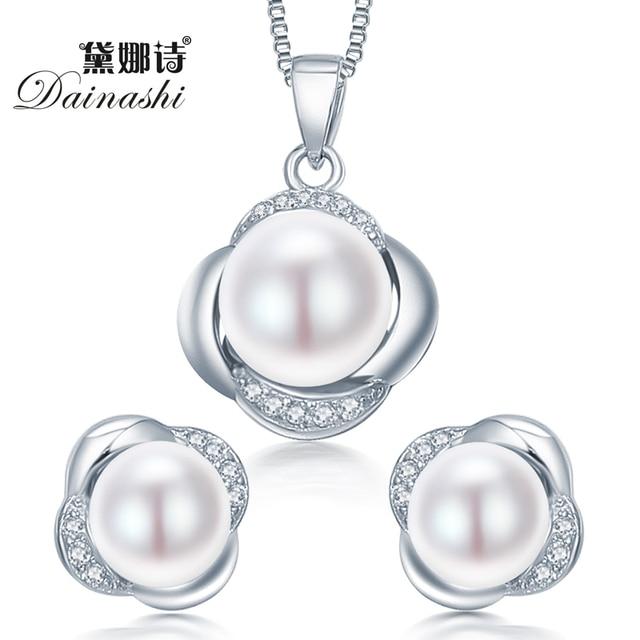 Dainashi 925 srebro zestaw biżuterii kolczyki/naszyjnik perła biżuteria dla kobiet srebro-zestawy biżuterii z pudełkiem