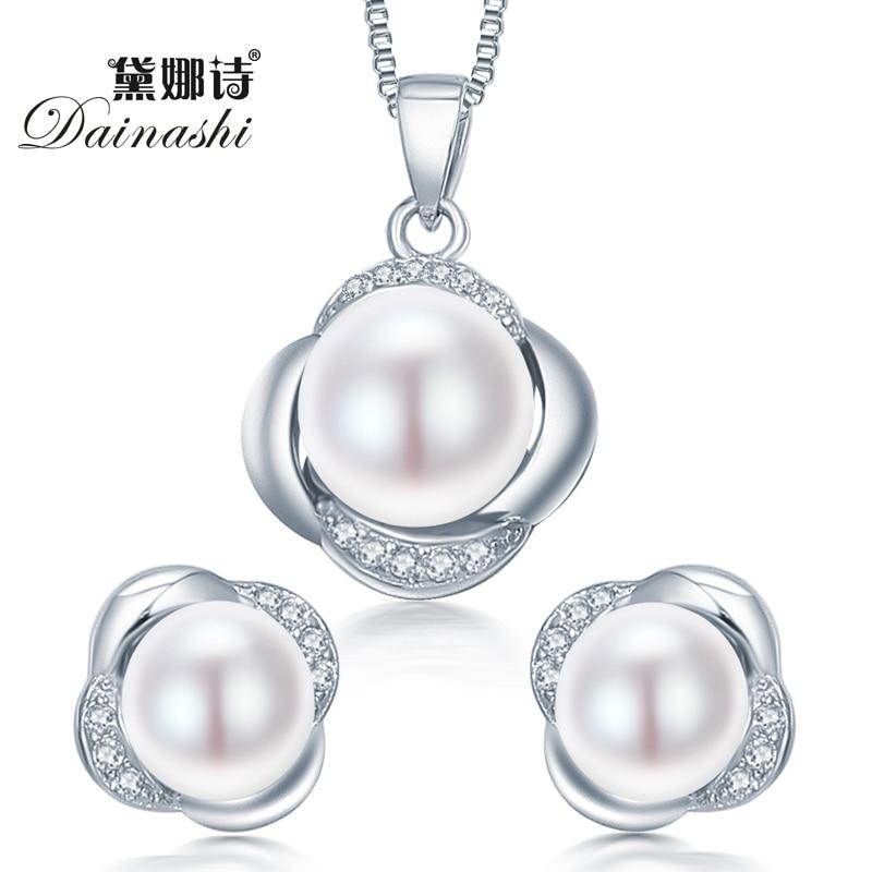 Dainashi 925 sterling silver jewelry set orecchino/collana dei monili della perla per le donne sterling-silver-insiemi dei monili con contenitore di regalo