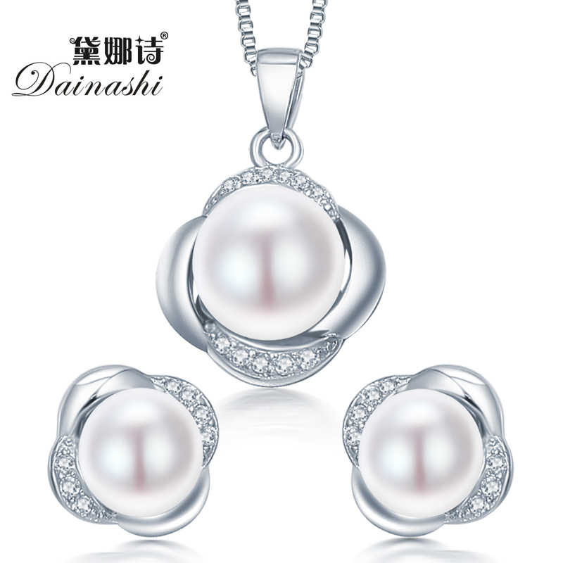 Dainashi 925 סט תכשיטי כסף סטרלינג עגיל/תכשיטי שרשרת פניני סטרלינג לנשים-כסף-סטי תכשיטים עם קופסא מתנה