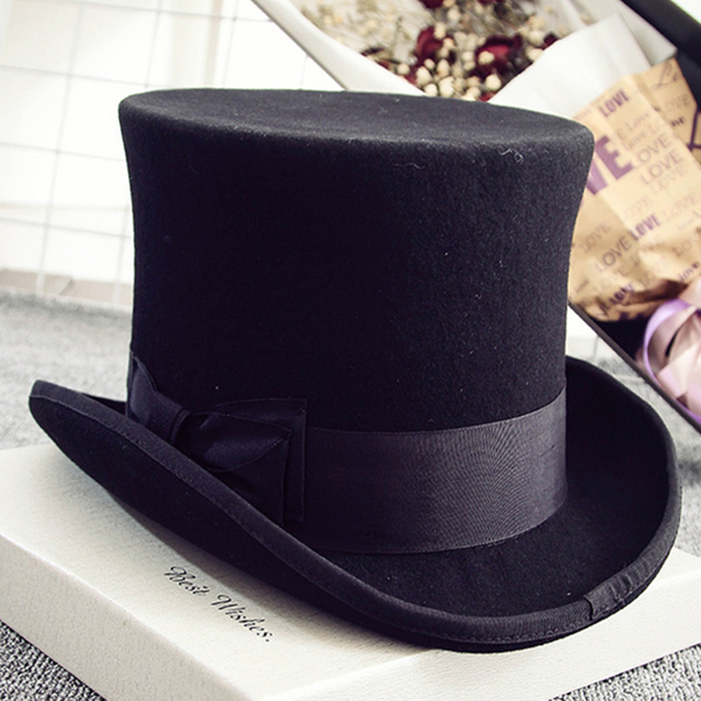 82e6d99859b 18.0cm(7 in.) Black Men or Women Wool High Top Hat  Uncle Sam Magician  Stove Pipe Hat   Gun Rose Slash Sherlock Hat