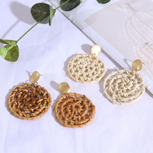 Women Exaggerated Round Hand-made Rattan Earring With Wooden Geometric Retro Pendant
