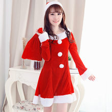 2fcceb6efd91 Hot Sale 1 Set Sexy Women Santa Claus Christmas Costume Party Girls Outfit  Fancy Dresses White Fluff Christmas Clothing bag 533