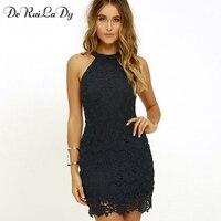 DeRuiLaDy Women Casual Dress Elegant Wedding Party Sexy Night Club Halter Neck Sleeveless Sheath Bodycon Lace