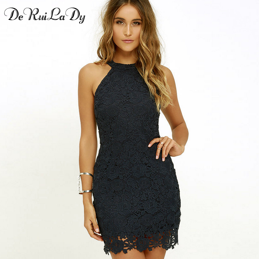 DeRuiLaDy Donna Casual Dress Elegante Festa di nozze Sexy Night Club Halter Neck senza maniche Guaina Bodycon Lace Mini Dress vestido