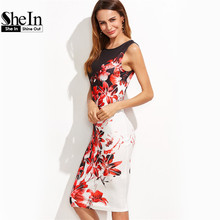 SheIn Multicolor Flower Print Sleeveless Pencil Party Dress Womens Summer Floral Knee Length Elegant Sheath Dress