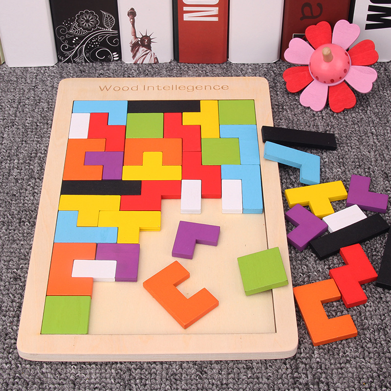 Baby Creative Educational Toy Wooden Tetris Blocks Tangram Building Montessori Block Intelligence Toys